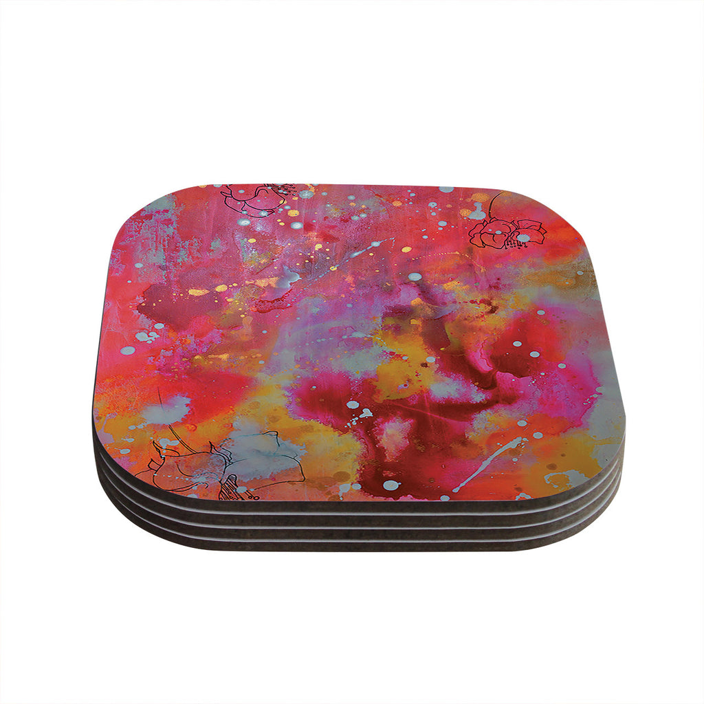 "Kira Crees ""Falling Paradise"" Pink Orange Coasters (Set of 4)"