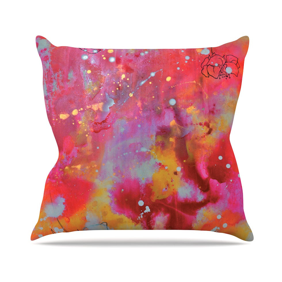 "Kira Crees ""Falling Paradise"" Pink Orange Throw Pillow - KESS InHouse  - 1"