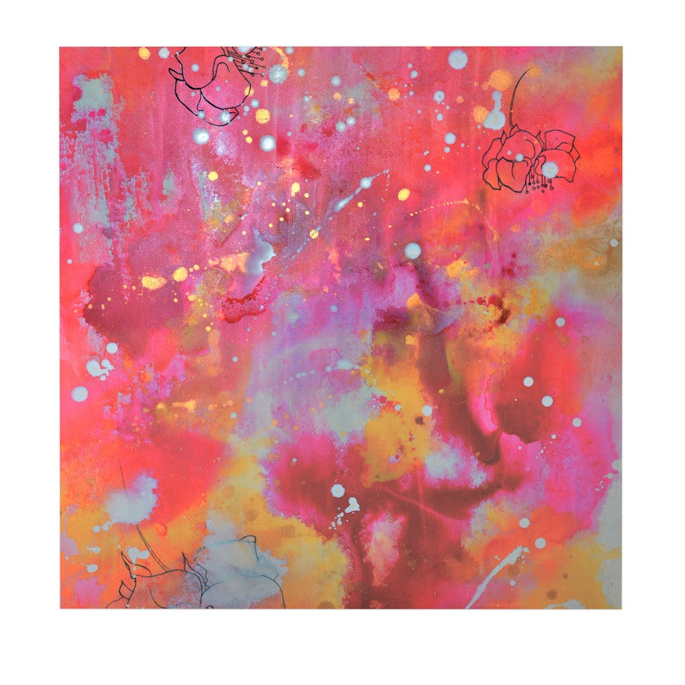 "Kira Crees ""Falling Paradise"" Pink Orange Luxe Square Panel - KESS InHouse  - 1"