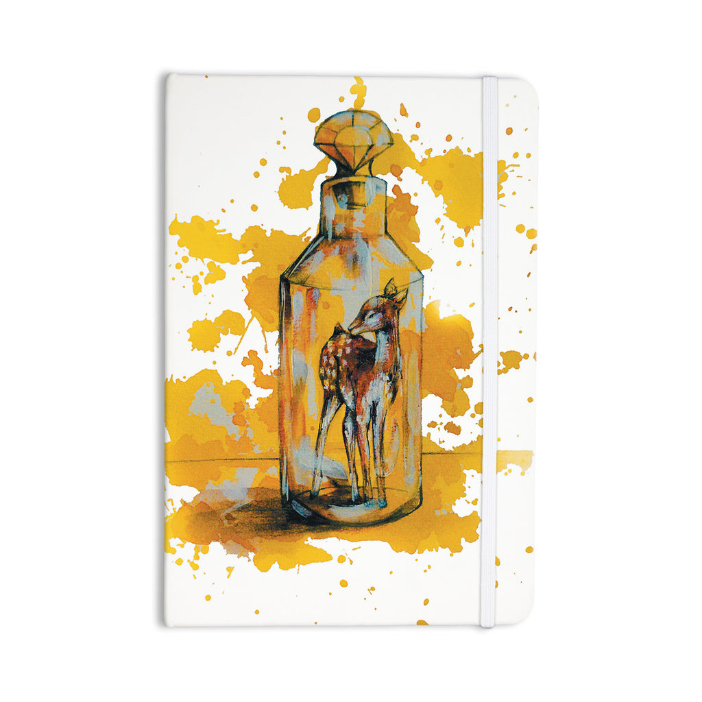"Kira Crees ""Vintage Bottled Deer"" Yellow White Everything Notebook - KESS InHouse  - 1"