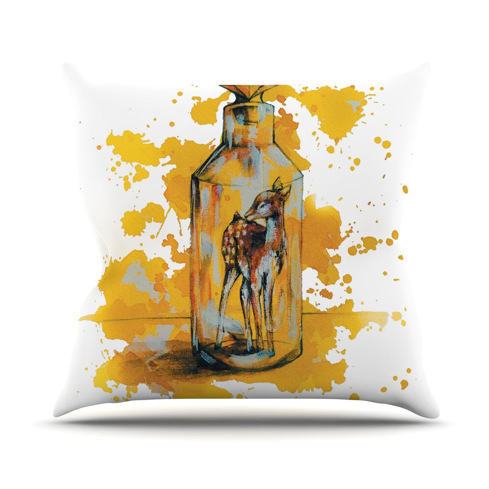 "Kira Crees ""Vintage Bottled Deer"" Yellow White Throw Pillow - KESS InHouse  - 1"