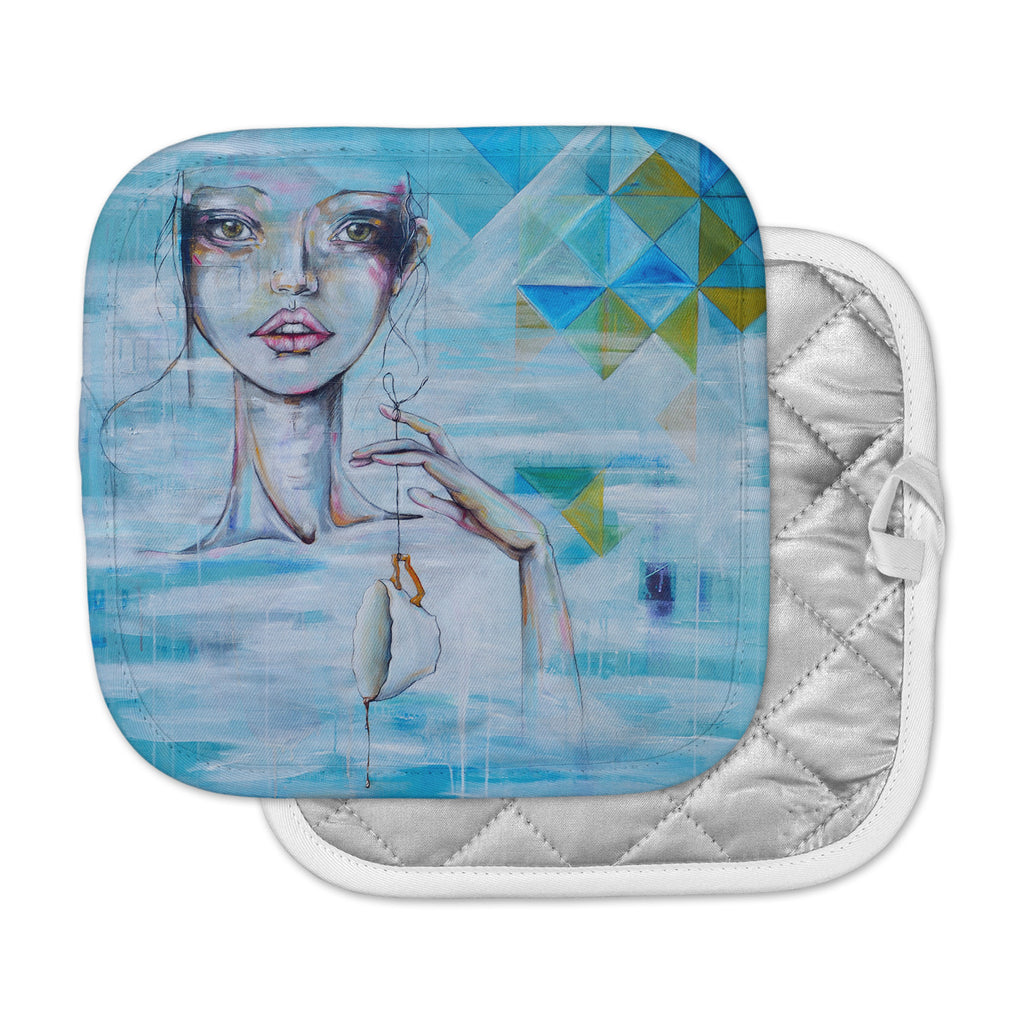 "Kira Crees ""Alice"" Blue Multicolor People Painting Pot Holder"