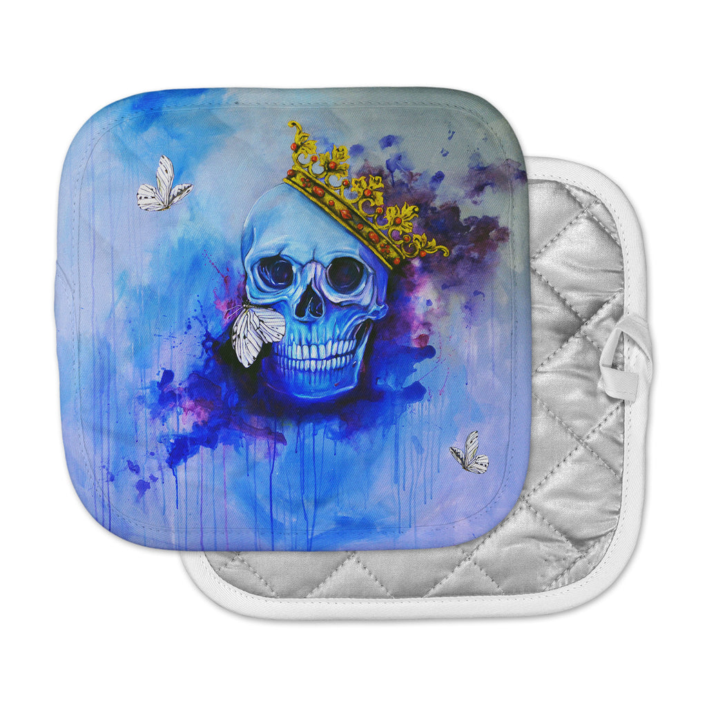"Kira Crees ""Spiriti D'archivio"" Blue Multicolor Fantasy Painting Pot Holder"