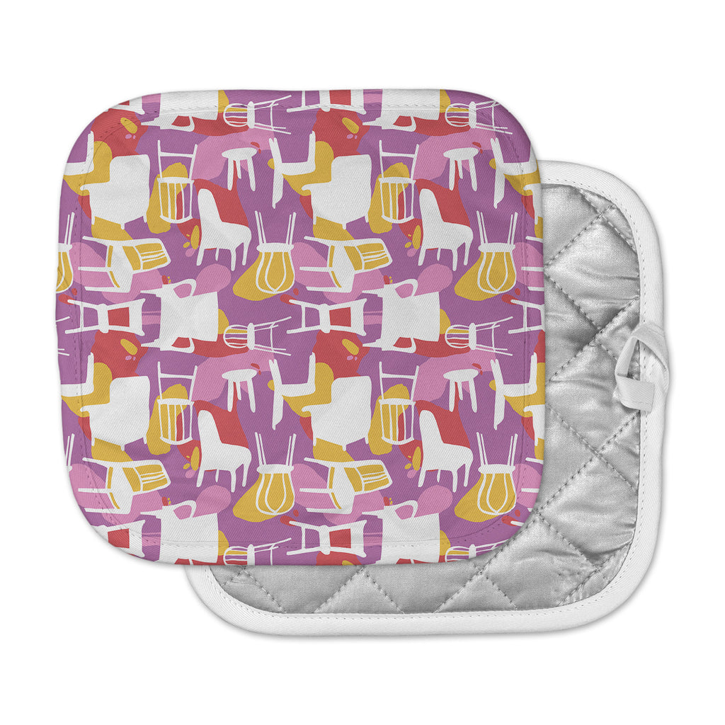 "Luvprintz ""Chairs"" Purple Red Pot Holder"
