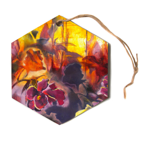 "Kristin Humphrey ""Release"" Pink Orange Hexagon Holiday Ornament"