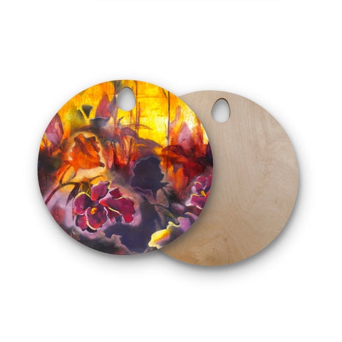 "Kristin Humphrey ""Release"" Pink Orange Round Wooden Cutting Board"