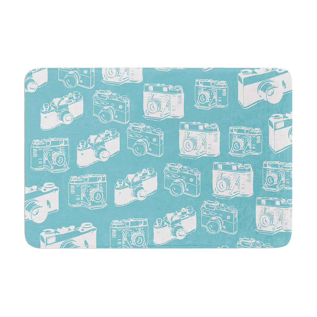 "KESS Original ""Camera Pattern"" G. Blu Memory Foam Bath Mat - KESS InHouse"
