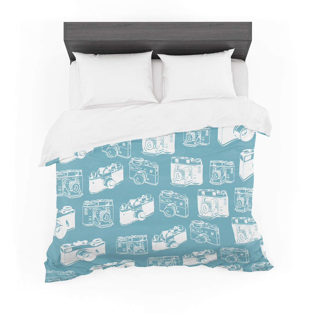 "KESS Original ""Camera Pattern"" G. Blu Cotton Duvet"