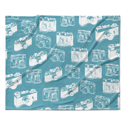 "KESS Original ""Camera Pattern"" G. Blu  Fleece Throw Blanket"