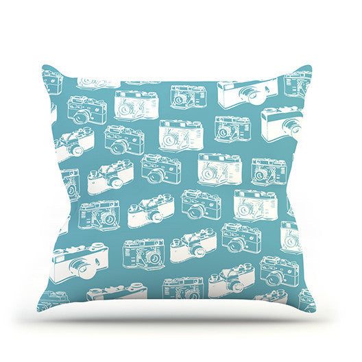 "KESS Original ""Camera Pattern"" G. Blu Outdoor Throw Pillow - KESS InHouse"