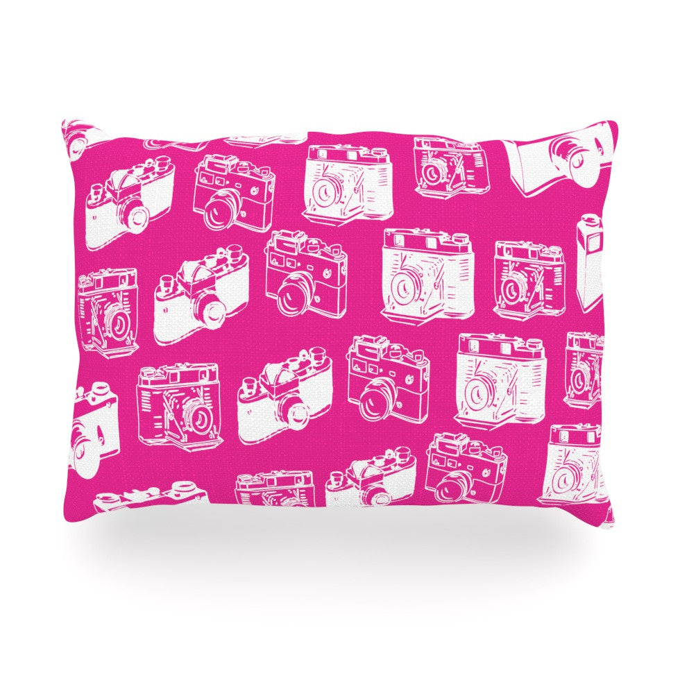 "KESS Original ""Camera Pattern"" Magenta Oblong Pillow - KESS InHouse"