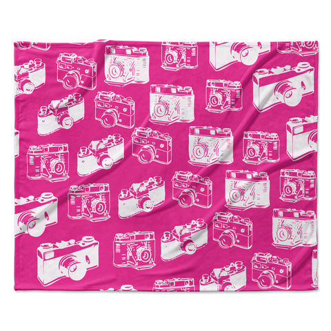 "KESS Original ""Camera Pattern"" Magenta Fleece Throw Blanket"