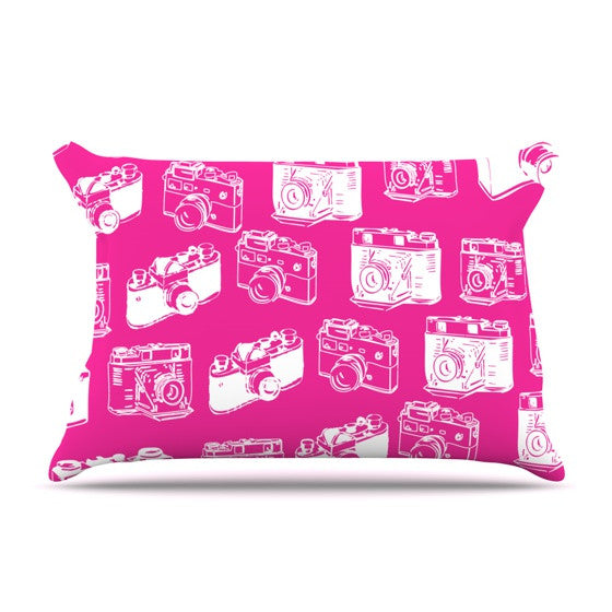 "KESS Original ""Camera Pattern"" Magenta Pillow Sham - KESS InHouse"
