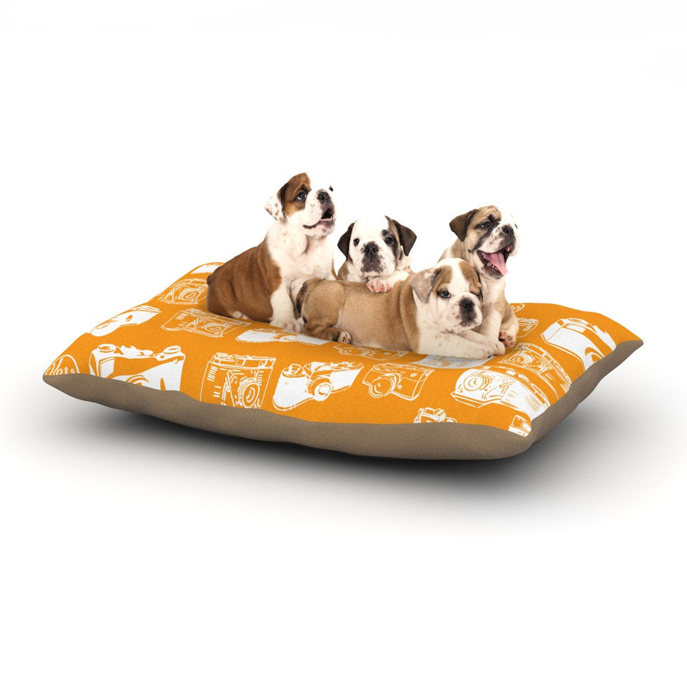 "KESS Original ""Camera Pattern"" KESS Orange Dog Bed - KESS InHouse  - 1"