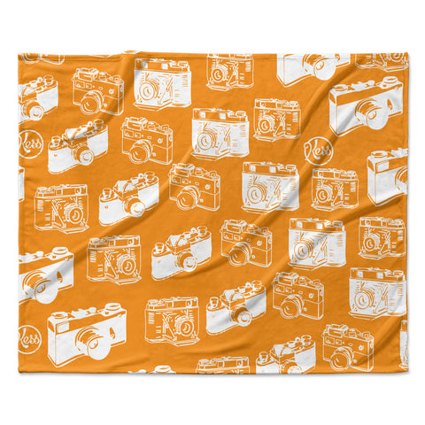 "KESS Original ""Camera Pattern"" KESS Orange Fleece Throw Blanket"