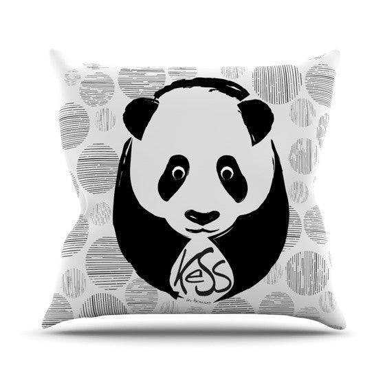 "KESS Original ""Panda"" Outdoor Throw Pillow - KESS InHouse  - 1"