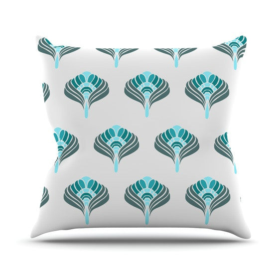 "KESS Original ""Peacock"" Outdoor Throw Pillow - KESS InHouse  - 1"