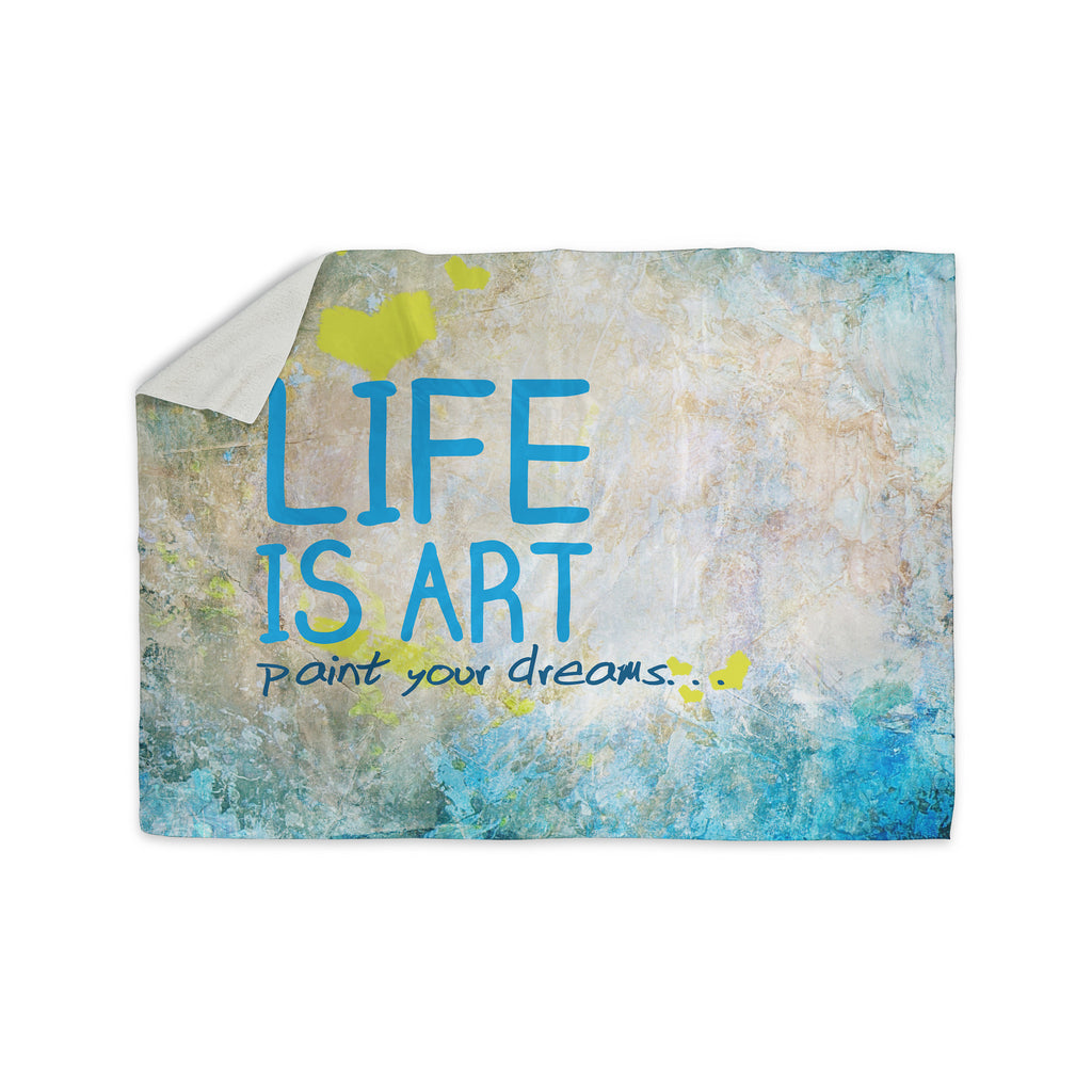 "KESS Original ""Life Is Art"" Sherpa Blanket - KESS InHouse  - 1"