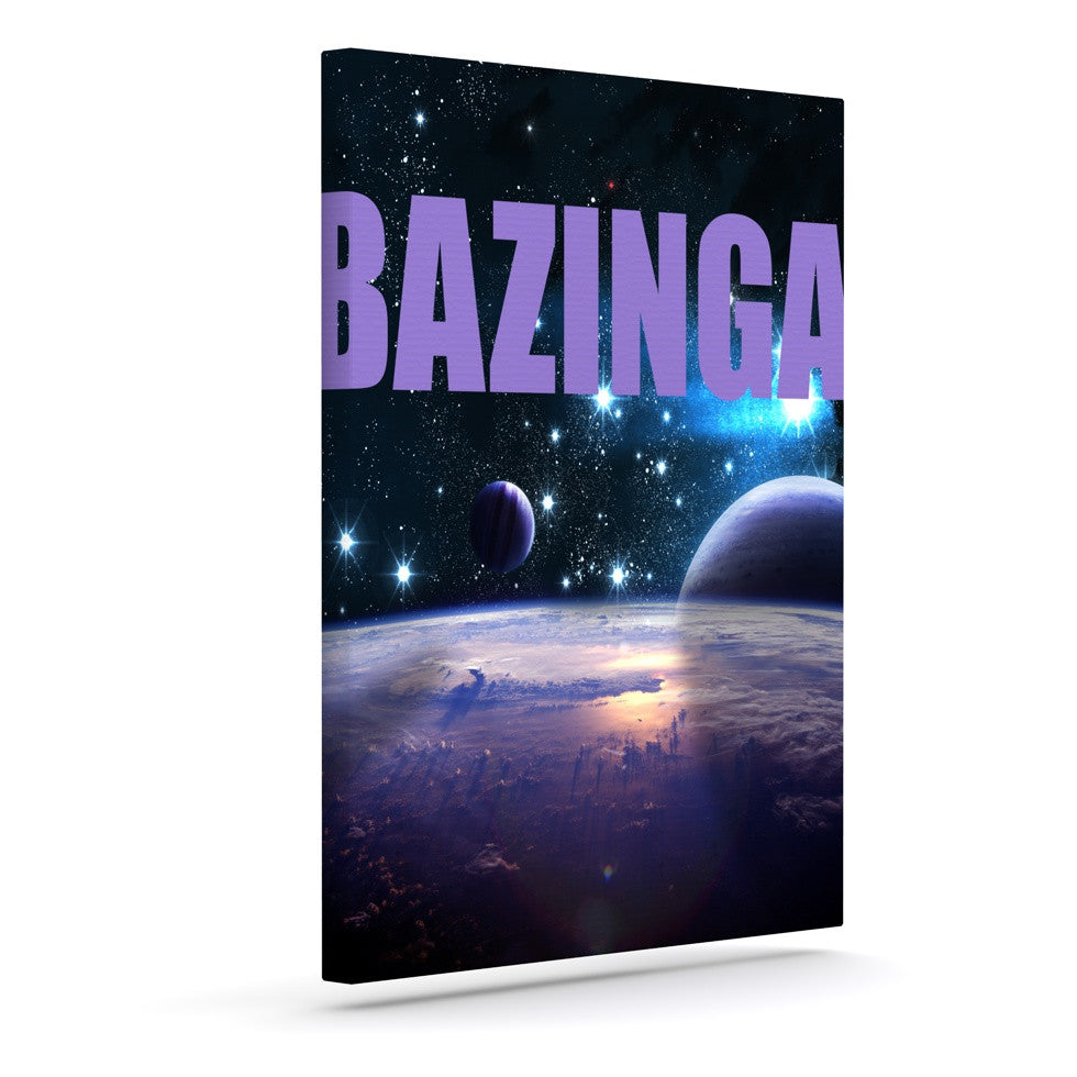 "KESS Original ""Bazinga Purple"" Space Outdoor Canvas Wall Art - KESS InHouse  - 1"