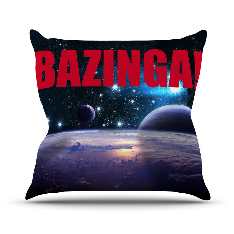 "KESS Original ""Bazinga Red"" Outdoor Throw Pillow - KESS InHouse  - 1"