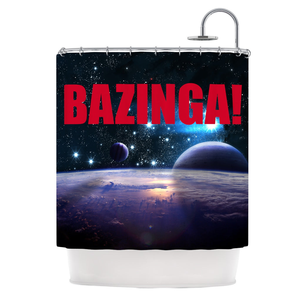 "KESS Original ""Bazinga Red"" Shower Curtain - KESS InHouse"