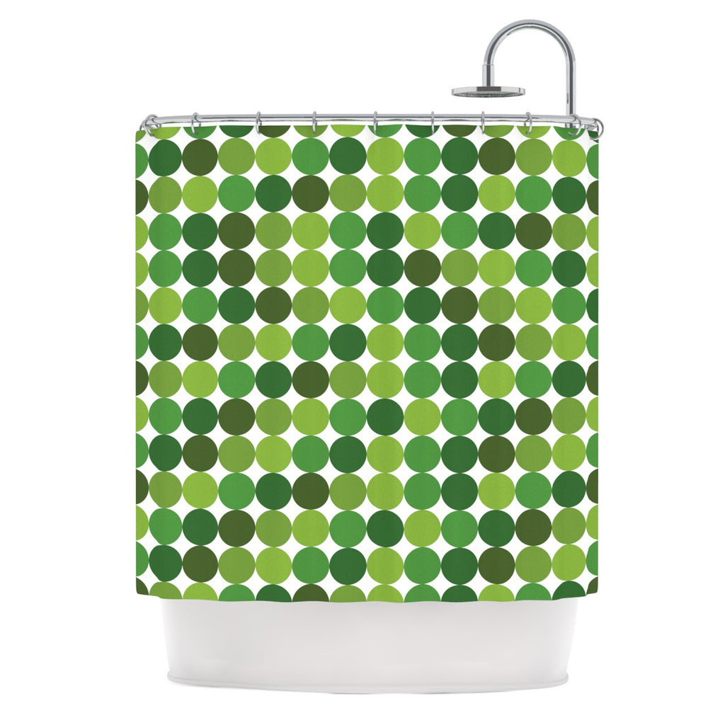 "KESS Original ""Noblefur Green"" Dots Shower Curtain - KESS InHouse"