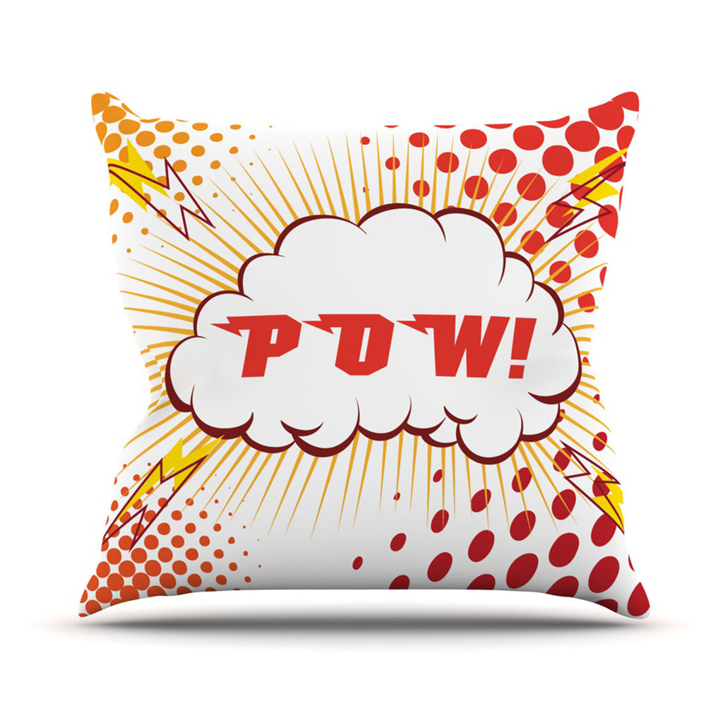 "KESS Original ""POW!"" Cartoon Throw Pillow - KESS InHouse  - 1"