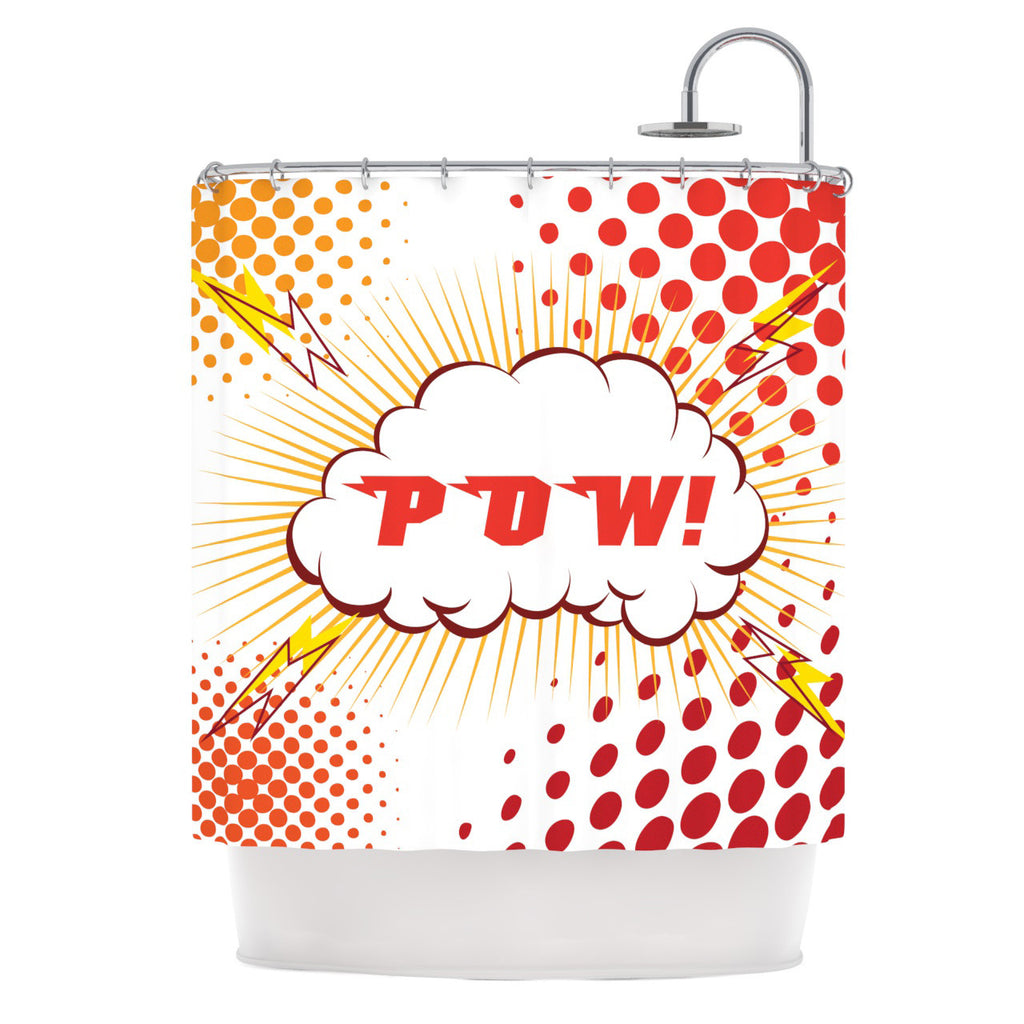 "KESS Original ""POW!"" Cartoon Shower Curtain - KESS InHouse"