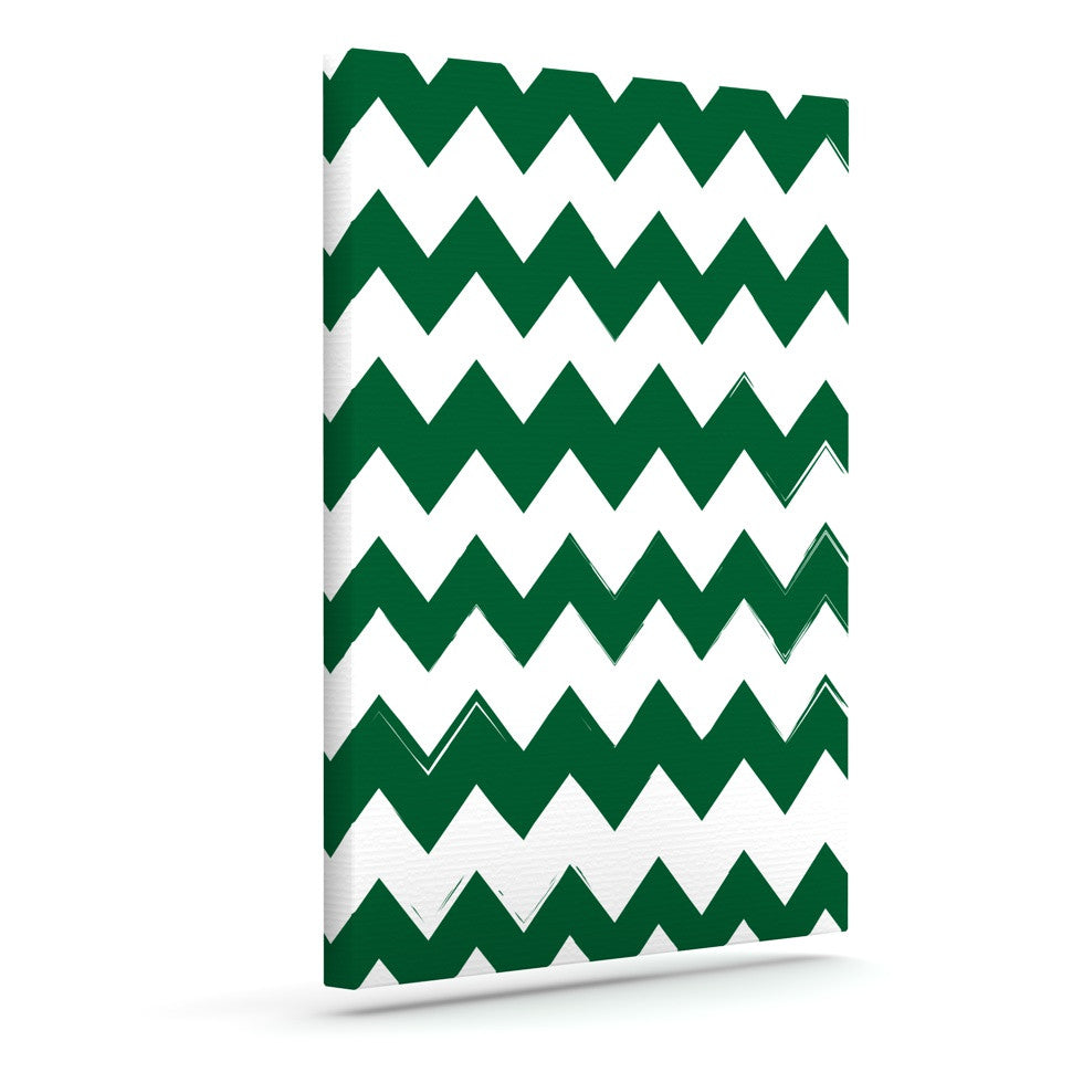 "KESS Original ""Candy Cane Green"" Chevron Outdoor Canvas Wall Art - KESS InHouse  - 1"