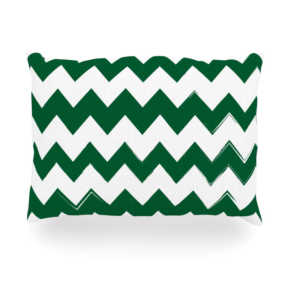 "KESS Original ""Candy Cane Green"" Chevron Oblong Pillow - KESS InHouse"