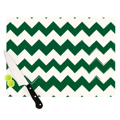 "Kess Original ""Green Chevron Pattern"" LIVE Cutting Board - Outlet Item"