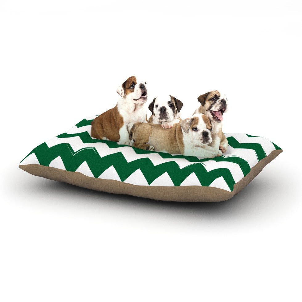 "KESS Original ""Candy Cane Green"" Chevron Dog Bed - KESS InHouse  - 1"