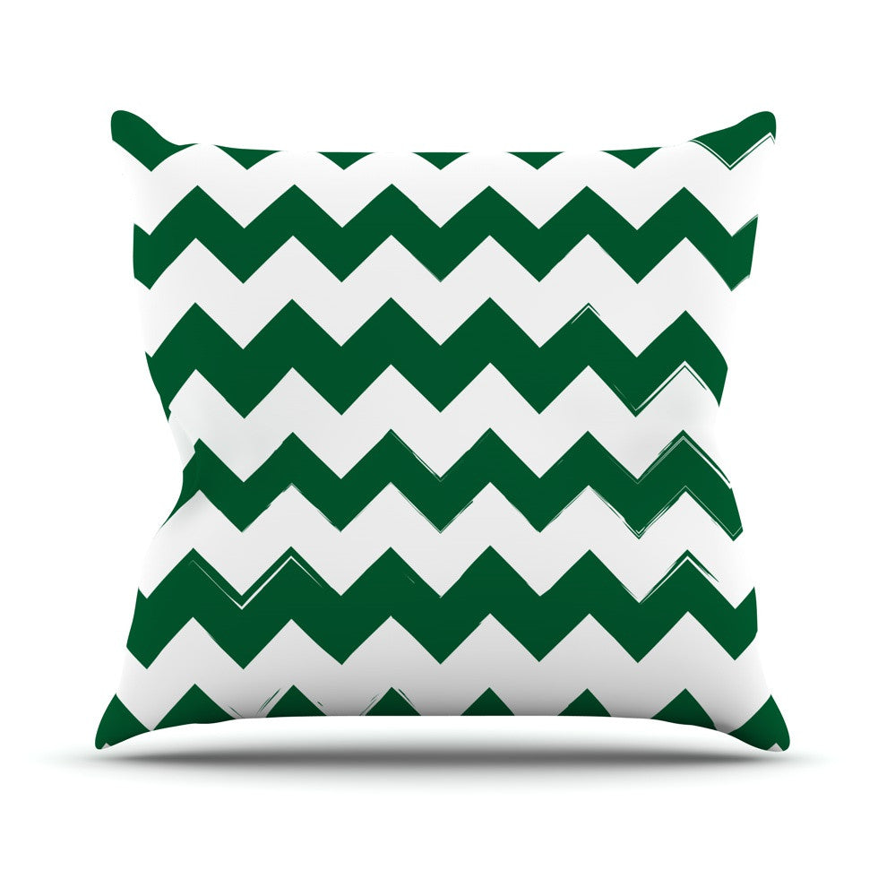 "KESS Original ""Candy Cane Green"" Chevron Throw Pillow - KESS InHouse  - 1"