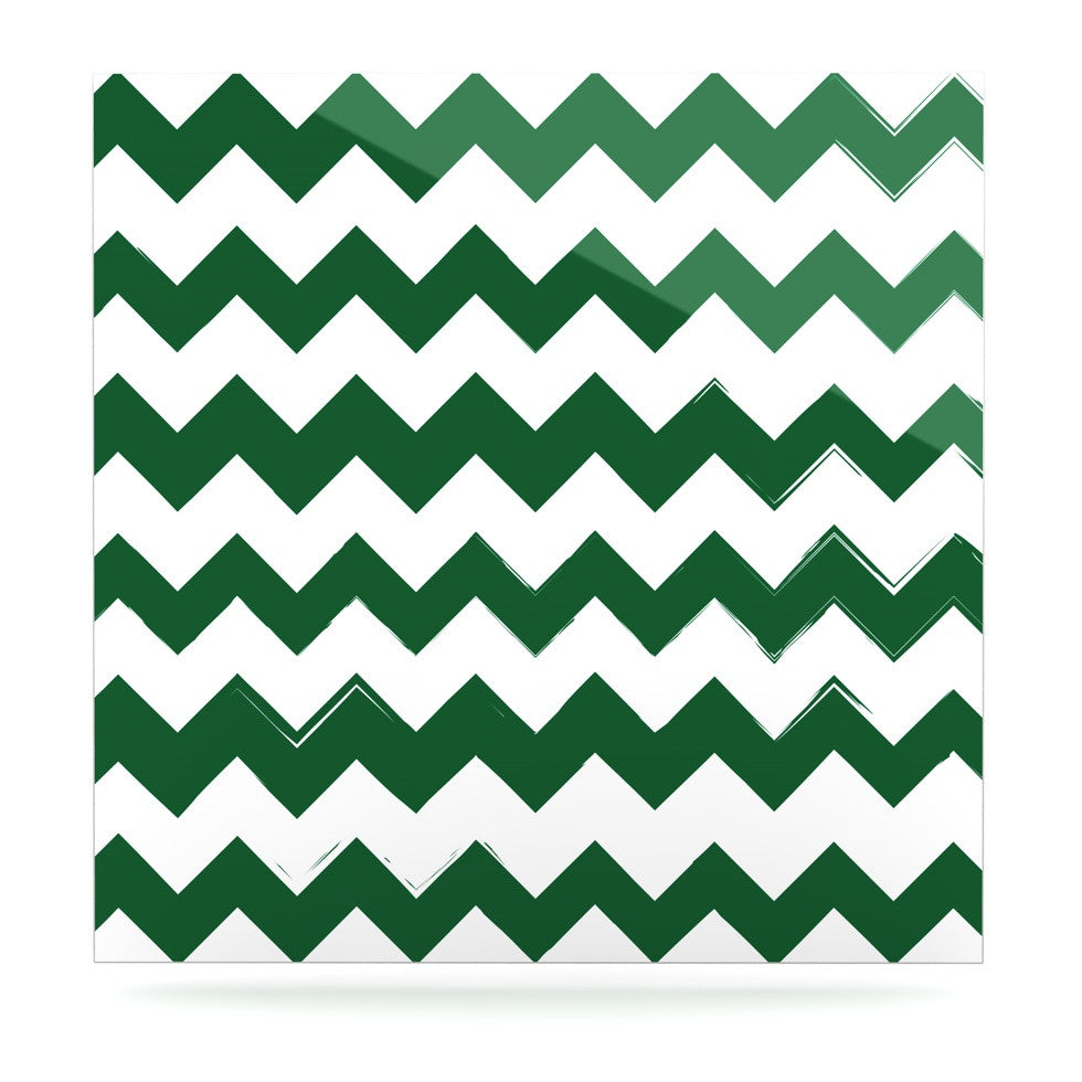"KESS Original ""Candy Cane Green"" Chevron Luxe Square Panel - KESS InHouse  - 1"