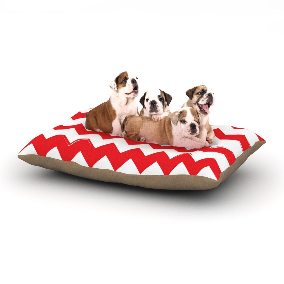 "KESS Original ""Candy Cane Red"" Chevron Dog Bed - KESS InHouse  - 1"