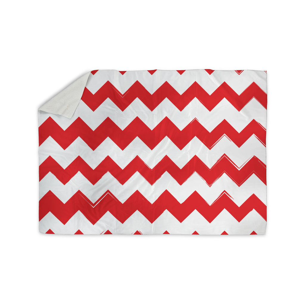 "KESS Original ""Candy Cane Red"" Chevron Sherpa Blanket - KESS InHouse  - 1"