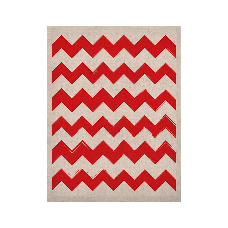 "KESS Original ""Candy Cane Red"" Chevron KESS Naturals Canvas (Frame not Included) - KESS InHouse  - 1"