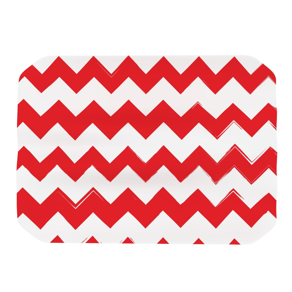 "KESS Original ""Candy Cane Red"" Chevron Place Mat - KESS InHouse"