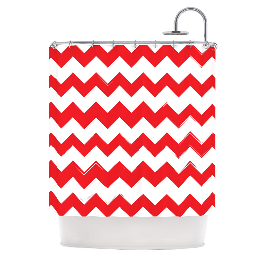 KESS Original Candy Cane Red Chevron Shower Curtain