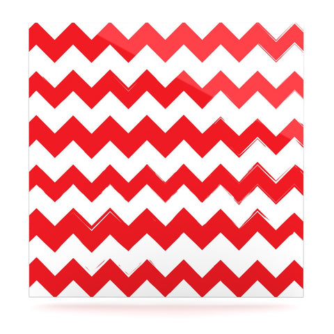 "KESS Original ""Candy Cane Red"" Chevron Luxe Square Panel - KESS InHouse  - 1"