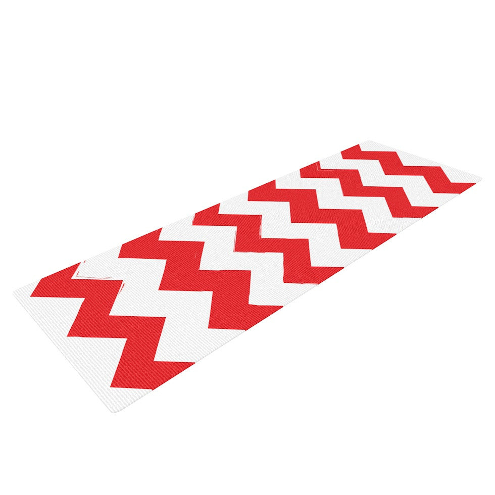 "KESS Original ""Candy Cane Red"" Chevron Yoga Mat - KESS InHouse  - 1"