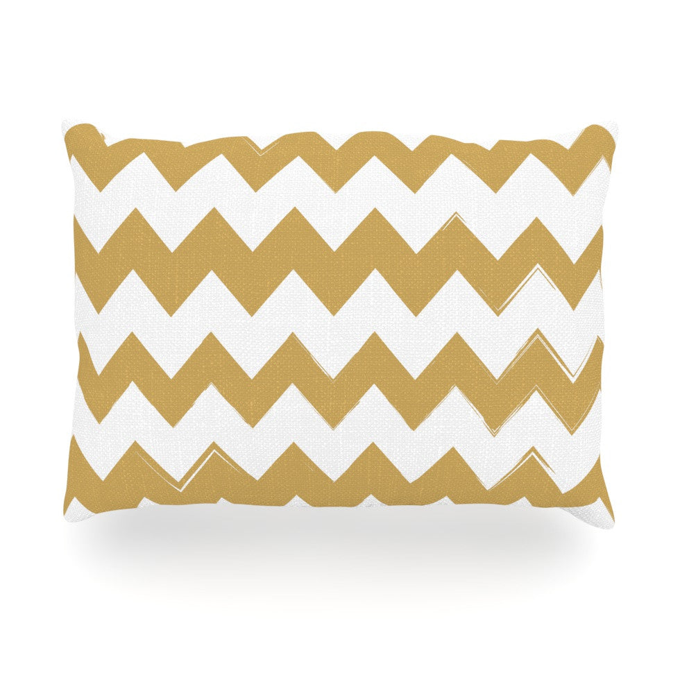 "KESS Original ""Candy Cane Gold"" Chevron Oblong Pillow - KESS InHouse"