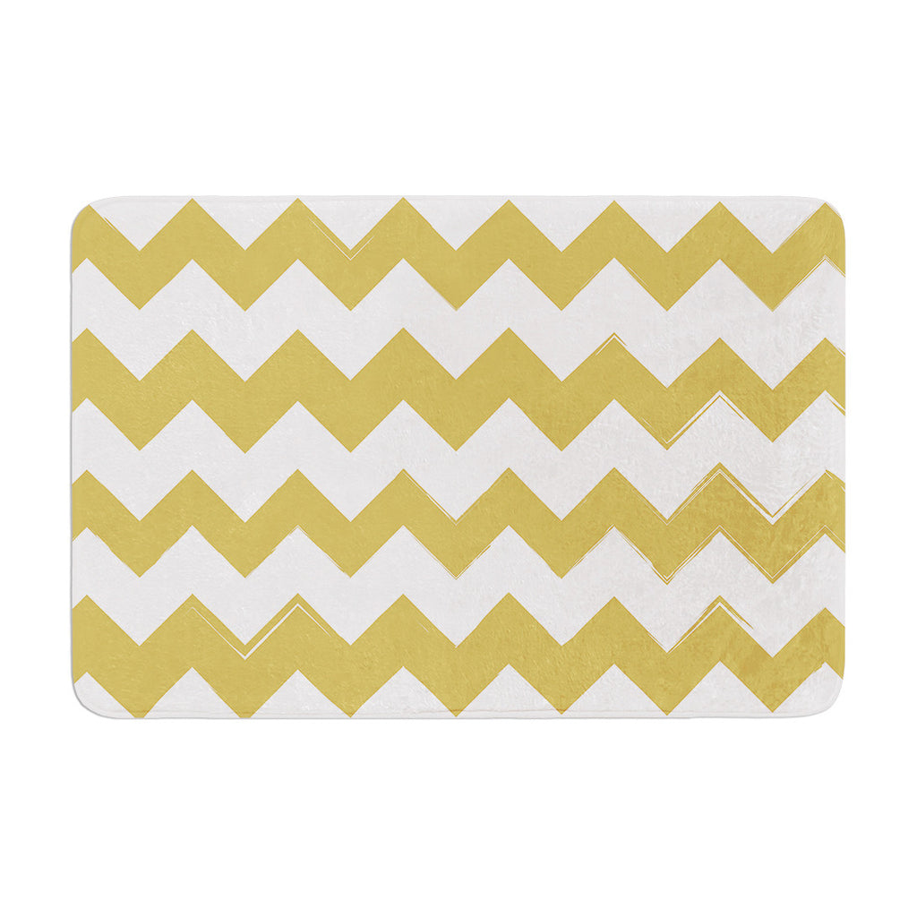 "KESS Original ""Candy Cane Gold"" Chevron Memory Foam Bath Mat - KESS InHouse"