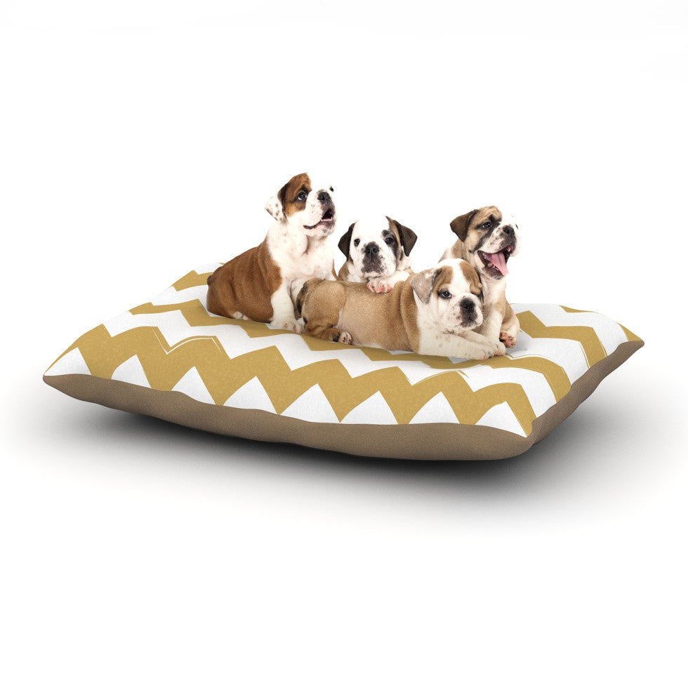 "KESS Original ""Candy Cane Gold"" Chevron Dog Bed - KESS InHouse  - 1"
