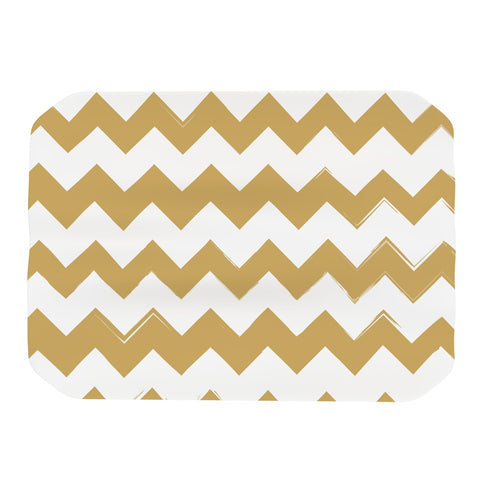 "KESS Original ""Candy Cane Gold"" Gold Chevron Pattern Place Mat - Outlet Item"