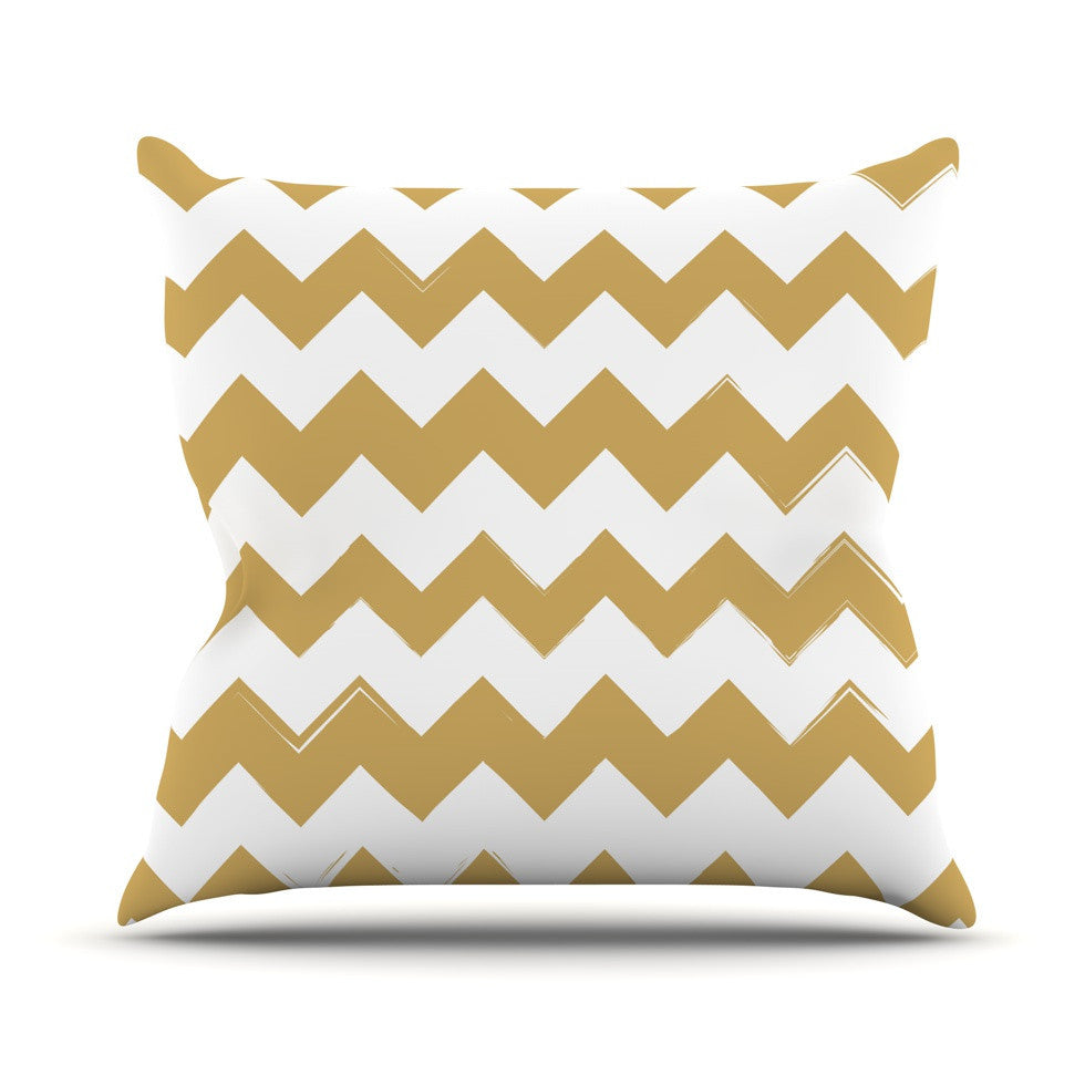 "KESS Original ""Candy Cane Gold"" Chevron Outdoor Throw Pillow - KESS InHouse  - 1"