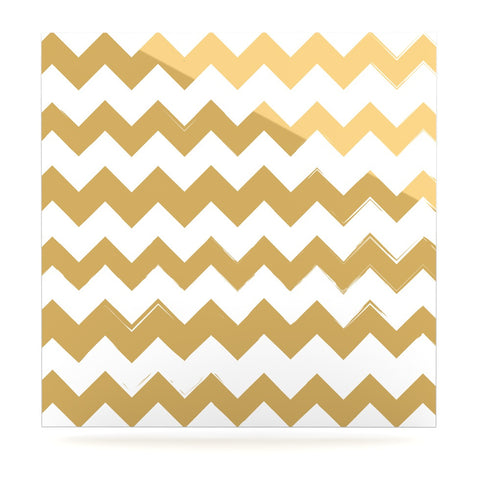 "KESS Original ""Candy Cane Gold"" Chevron Luxe Square Panel - KESS InHouse  - 1"