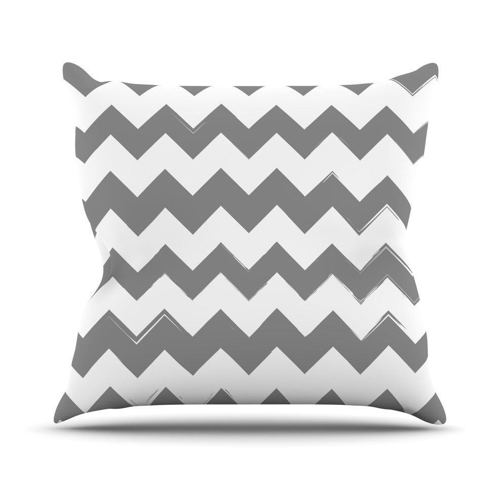 "KESS Original ""Candy Cane Gray"" Chevron Outdoor Throw Pillow - KESS InHouse  - 1"