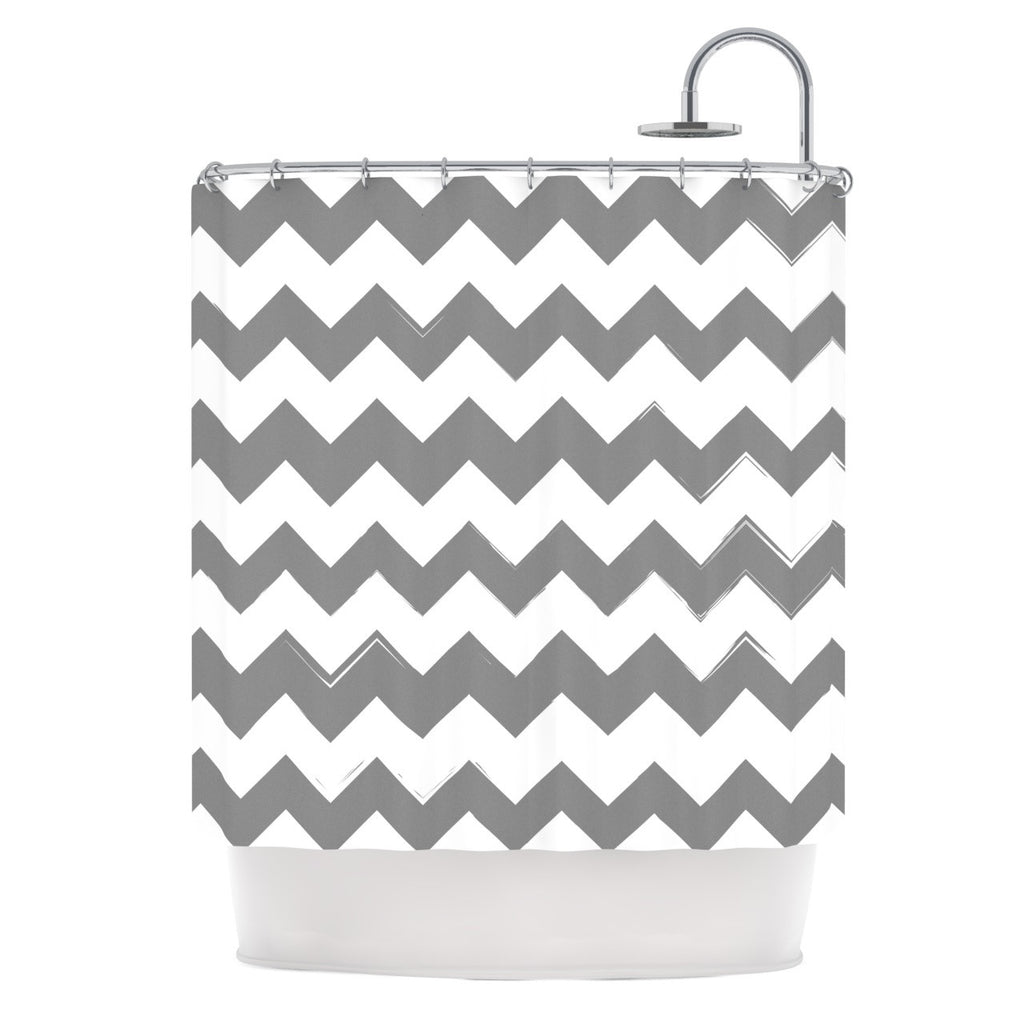"KESS Original ""Candy Cane Gray"" Chevron Shower Curtain - KESS InHouse"