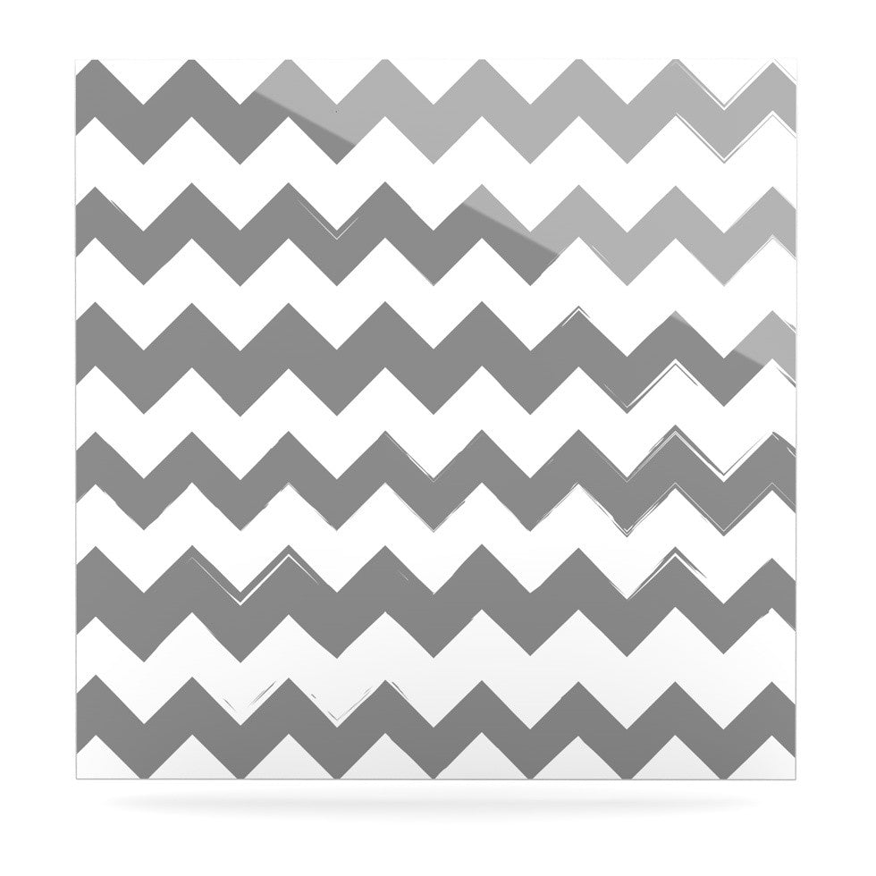 "KESS Original ""Candy Cane Gray"" Chevron Luxe Square Panel - KESS InHouse  - 1"